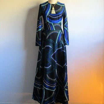 Vintage Kaisu Heikkilä Oy Dress 70s Blue Black Mod Maxi Dress Kaisu Heikkila Oy 1970s Designer Peacock Print Fall Dress 40 Made in Finland