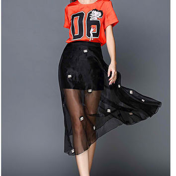 Orange T-Shirt and Black Organza Skirt