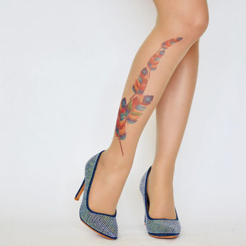 Feather Tattoo Tights , Design  Tights , Printed  Womens Pantyhose , S-XXL Sizes Available