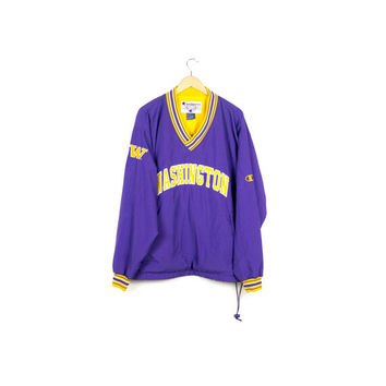 90s CHAMPION university of washington windbreaker / purple and gold / huskies / vintage 1990s / warm up jacket / athletic / size large