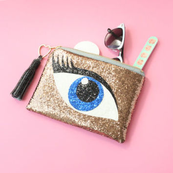 Blue Eye On You Clutch Bag