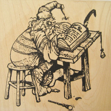 Rare WIZARD Reading Spell Book Rubber Stamp by VIP Visual Image Printery 1994 Large Rubber Stamp Wizard Rubber Stamp VIP Wizard Stamp Clean
