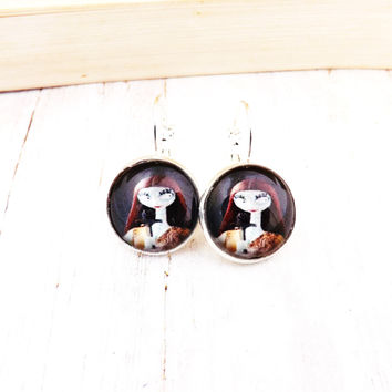 Sally Nightmare Before Christmas Silver Finish   Earrings