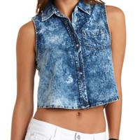 Lt Blue Combo Acid Wash Button-Up Crop Top by Charlotte Russe