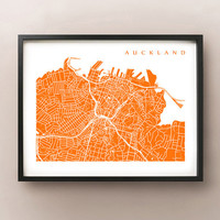 Auckland Map - New Zealand Art Poster Print
