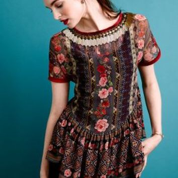 Sahira Peasant Top by Preeti S Kapoor Red Motif