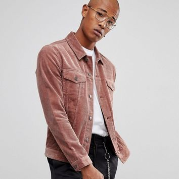 ASOS Cord Jacket in Dusky Pink at asos.com