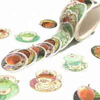 English tea cups  die cut washi tape fine bone China teacups classic vintage tea cups tea art tea party invitations masking tape sticker