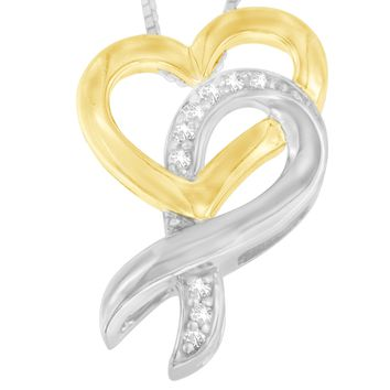 10k Yellow Gold and Sterling Silver 0.05 CTTW Round Cut Diamond Ribbon and Heart Pendant Necklace (H-I, I1-I2)