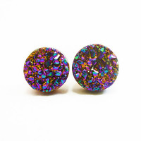 Etsy Transaction - Rainbow Flame Druzy Stud Earrings n.37
