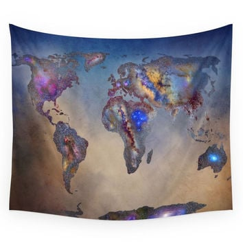 Society6 Stars World Map. Blue. World Map Wall Tapestry
