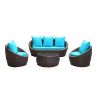 Carmel Outdoor Rattan 4 Piece Set | Brown / Turquoise