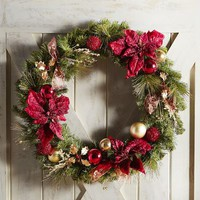 Oversized Royal Faux Poinsettia Wreaths