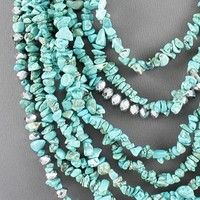 Heishi Style Turquoise Silver And Crystal Multi Strand Southwest Neckl