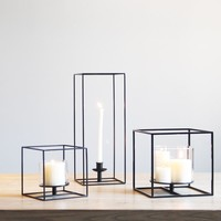 Square Black Cuboid Candle Holder