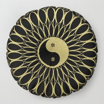 'Yin Yang Golden Daisy' Gold Black mandala Floor Pillow by inspiredimages