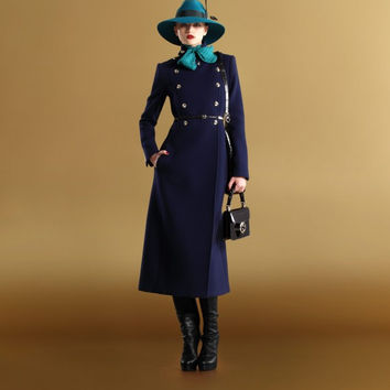 Gucci Cashmere Navy Military Inspired Runway Coat. Double Breasted With Gold Button Details.  New, Never Worn