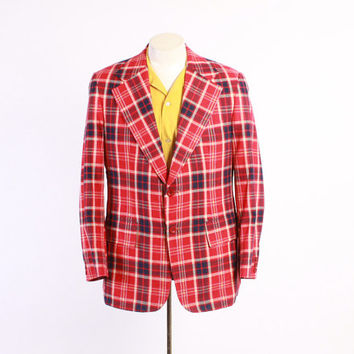 Vintage 60s BLAZER / 1960s Men's MADRAS Plaid Cotton Sport Coat Jacket M 42