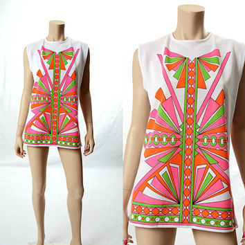 Vintage 60s 70s Graphic Deco Neon Op Art Tunic Top 1960s 1970s Mod Laugh In Carnaby Street Groovy Twiggy Hippie Boho Blouse size L-XL