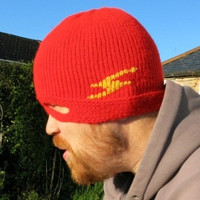 Adult Knit Hat - Flash Beanie with a Mask - Red Hand Knit Hat - Superhero Mask - Superhero Costume - Superhero Fancy Dress