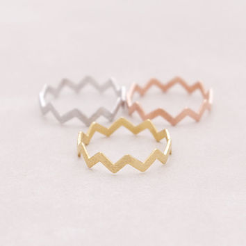 New Fashion Wedding Rings Gold Silver and Rose Gold Plated Zig Zag Wave Band Rings for Women JZ032