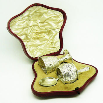 Solid Silver ZODIAC Egg Cup, Napkin Ring & Spoon, Sterling, Cased, English, Antique, Hallmarked London 1898, Mappin and Webb, REF:251M