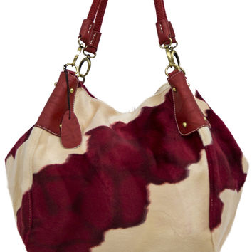 Off White and Deep Red Faux Fur Patterned Purse