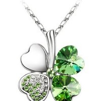Swarovski Elements Crystal Four Leaf Clover Pendant Necklace 47CM-9034G
