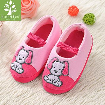 Kids Slippers Children Home Shoes Baby Shoes For Boys Girls Indoor Bedroom Warm Winter Cotton Slipper Animal Cartoon Dog Pattern