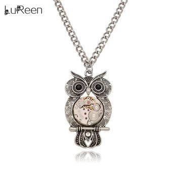 LuReen Vintage Owl Pendant Necklaces Men Steampunk Real Watch Gear Necklace Antique Silver Long Chains Women Jewelry Gift LN0244