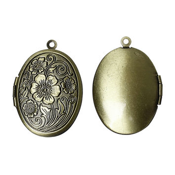 DoreenBeads Free Shipping! 5PCs Antique Bronze Picture/ Photo Frame Oval Locket Pendants 33x24mm(Fit 22.5x16mm) (B18315)