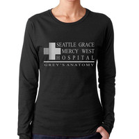 Seattle Grace Mercy West Hospital on Longsleeve Women tee (G4400L Gildan Junior Fit Soft Style)