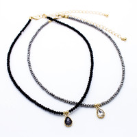 Beaded charm choker necklace