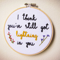 Moonrise Kingdom Suzy & Sam Lightning Quote Handmade Stitch Embroidery Hoop Pattern Design Wall Art Home Decor Vintage Modern Gifts For Her