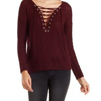 Lace-Up Pullover Sweater by Charlotte Russe