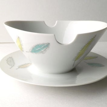 Rosenthal Germany Gravy Boat with Colored Leaves Design