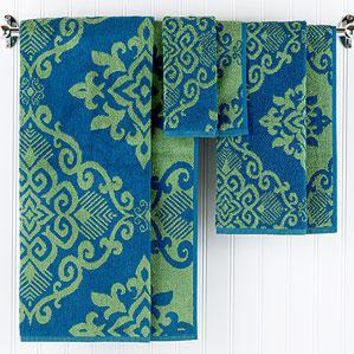 Medallion Towel Collection, Blue/Green - Bath Towels - Cost Plus World Market