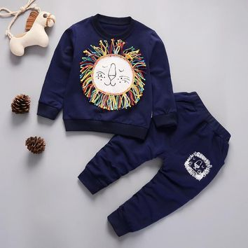 Kids Winter Clothes Cute Lion Printed T-shirt Set Comfortable Warm Children Clothing Girl Winter Clothes For Kids 1-4 years old