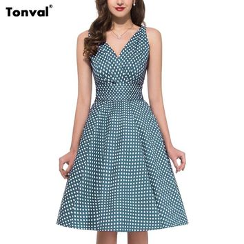 Tonval 2018 Women Polka Dot Pleated Dress Vintage Pinup Style Sexy Backless Dresses Summer Deep V Neck Bow Swing Dress