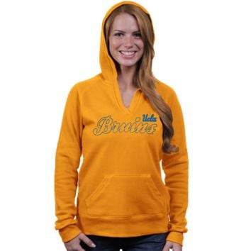 UCLA Bruins Ladies V-Neck Pullover Hoodie - Gold