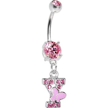 "Pink Gem Butterfly INITIAL Dangle Belly Ring - LETTER ""Y"""