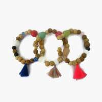 Tassel Bracelet with Wood and Crystal beads, Boho Chic Jewelry, Summer Boho Chic Style