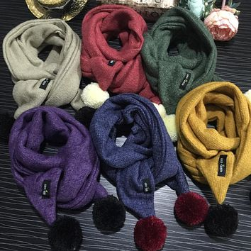 2017 new fashion boy and girl winter scarf knitted hanging ball baby scarf Kids Fashion wool scarf