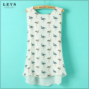 New Summer Style Women Blouses  Fashion O-neck Birds Printing Chiffon Shirts Female Breathable Cool Casual Shirt Tops SM6