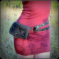 Utility Pocket Belt Hip Bag ~ Black, Dark Purple or Burgundy Vegan Cotton Canvas Fabric ~ Sexy Fanny Pack Alternative