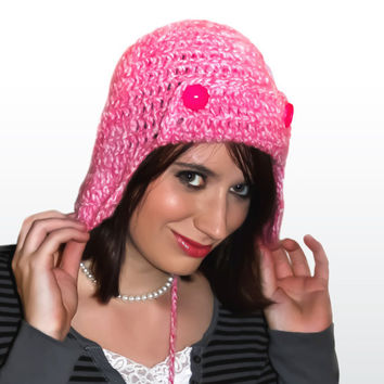 Crochet Aviator Ear Flap Bomber Beanie Hat in Pink Medium