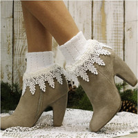 GARDENIA double lace socks - white
