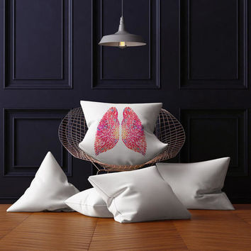 Lungs throw pillow anatomy art pillows lungs decorative pillow with abstract human lungs size 18x18 stuffed toss pillow science home decor