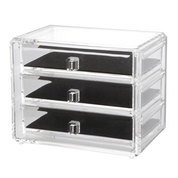 Deluxe 3-drawer Jewelry Makeup Cosmetic Chest with Removable Drawers and Liners