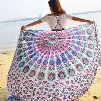 2017 New Fashion Indian Round Mandala Tapestry Wall Hanging Throw Towel Boho Yoga Mat Decor Sun Bath Shawl Tablecloth Home Decor